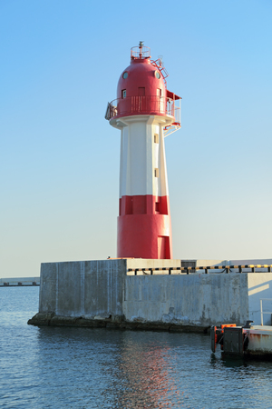 Lighthouse in the commercial port of Sochi, Russia