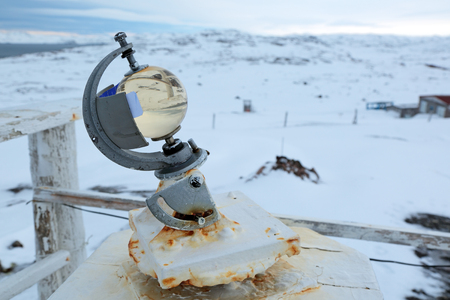 weather gauge: Geliograph Campbell-Stokes on the polar weather station Stock Photo