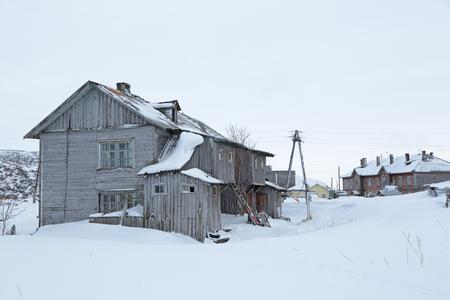 habitable: Old wooden houses in the village of Teriberka, Murmansk oblast, Kola Peninsula, Russia