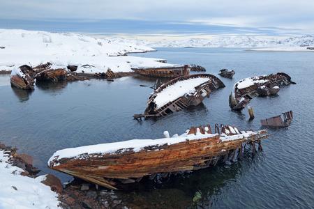 the sunken: Old wrecks near the village of Teriberka, Murmansk oblast, Kola Peninsula, Russia