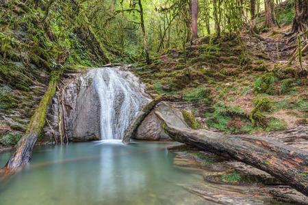 Thirty-three waterfalls - mountain gorge in the Lazarevsky City District of Sochi in Krasnodar Krai of Russia. River Dzhegosh Stock Photo