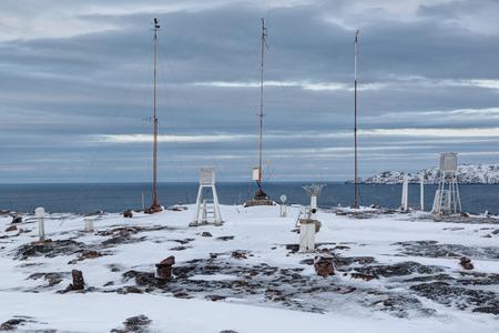 Polar weather station on the shore of the Barents sea, Kola Peninsula, Russia