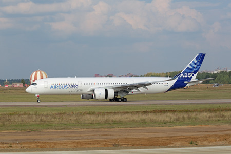 ZHUKOVSKY, MOSCOW REGION, RUSSIA - AUG 27, 2015: Airbus A350-900 is a long-range wide-body twin-engine passenger jet airliner at the International Aviation and Space salon MAKS-2015 Editorial