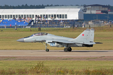 ZHUKOVSKY, RUSSIA - AUG 27 2015: The Mikoyan MiG-35 (NATO reporting name: Fulcrum-F) is a Russian perspective multi-role fighter of 4 ++ generation at the International Aviation and Space salon MAKS-2015