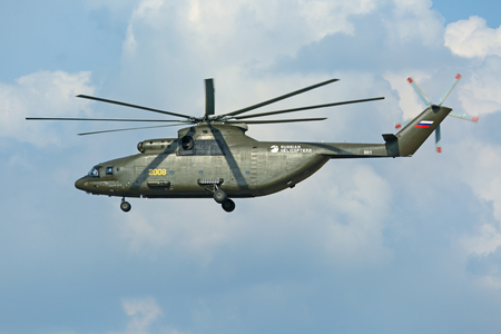 ZHUKOVSKY, MOSCOW REGION, RUSSIA - AUG 27, 2015: A demonstration flight Russian heavy transport helicopter Mi-26 Halo at the International Aviation and Space salon MAKS-2015