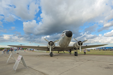 ZHUKOVSKY, MOSCOW REGION, RUSSIA - AUG 30, 2015: Douglas DC-3  C-47A Skytrain - American short-haul transport aircraft designed in 1935 by the Douglas Aircraft Company at the International Aviation and Space salon MAKS-2015