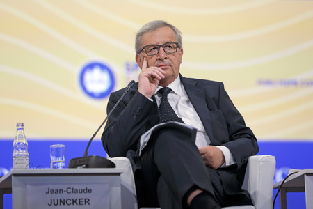 the statesman: SAINT-PETERSBURG, RUSSIA - JUN 16, 2016: St. Petersburg International Economic Forum SPIEF-2016. President of the European Commission Jean-Claude Juncker