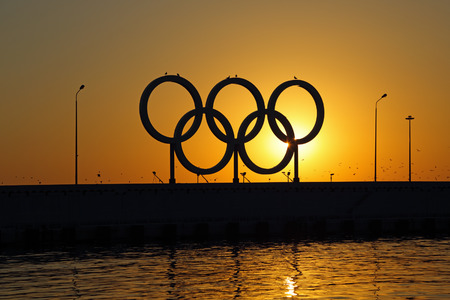 SOCHI, KRASNODAR KRAI, RUSSIA - AUG 07, 2015: The Olympic rings in the Sochi sea trading port