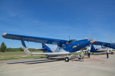 experimental: ZHUKOVSKY, MOSCOW REGION, RUSSIA - AUG 24, 2015: Light multipurpose experimental aircraft TVS-2DT at the International Aviation and Space salon MAKS-2015 Editorial