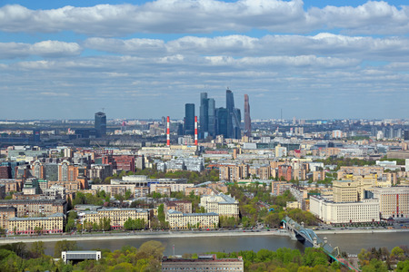 megacity: MOSCOW, RUSSIA - MAY 05, 2015: Moscow cityscape. Top view on the Frunzenskaya embankment and Moscow International Business Center