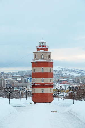 MURMANSK, RUSSIA - FEB 16, 2016: A memorial to the sailors who died in peacetime - a hexagonal tower lighthouse