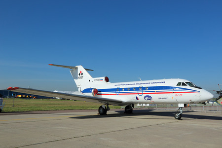 ZHUKOVSKY, MOSCOW REGION, RUSSIA - AUG 25, 2015: The Yakovlev Yak-40 Integrated modular avionics is a small passenger plane for local airlines at the International Aviation and Space salon MAKS-2015