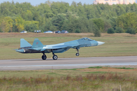 ZHUKOVSKY, MOSCOW REGION, RUSSIA - AUG 27, 2015: Takeoff Sukhoi PAK FA T-50 (Prospective Airborne Complex of Frontline Aviation) fifth-generation jet fighter at the International Aviation and Space salon MAKS-2015