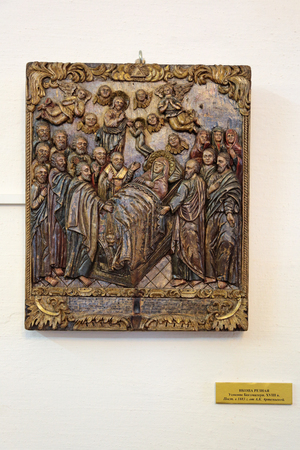 ROSTOV, YAROSLAVL OBLAST, RUSSIA - MAY 02, 2014: White dining room chamber (the Museum of Church antiquities) on the territory of the Rostov Kremlin (Golden Ring). Carved icon, the Dormition of the virgin, XVIII century