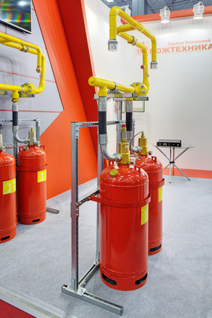 fire extinguishing: KUBINKA, MOSCOW OBLAST, RUSSIA - SEP 06, 2016: International military-technical forum ARMY-2016. The equipment of automatic fire extinguishing