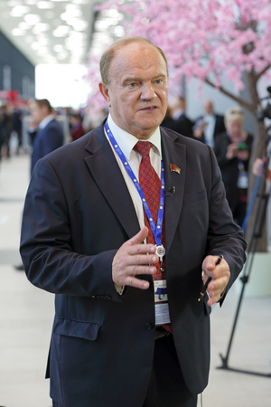 duma: SAINT-PETERSBURG, RUSSIA - JUN 17, 2016: St. Petersburg International Economic Forum SPIEF-2016. Gennady Zyuganov - Deputy of the State Duma, First Secretary of the Central Committee of the Communist Party of the Russian Federation