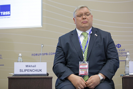 duma: SAINT-PETERSBURG, RUSSIA - JUN 18, 2016: St. Petersburg International Economic Forum SPIEF-2016. Mikhail Slipenchuk - Russian businessman billionaire, the Deputy of the State Duma, founder and leader of the Group of companies Metropol