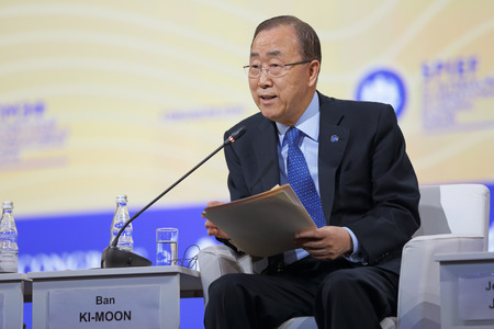 statesman: SAINT-PETERSBURG, RUSSIA - JUN 16, 2016: St. Petersburg International Economic Forum SPIEF-2016. Ban Ki-moon is a South Korean statesman and politician who is the eighth Secretary-General of the United Nations