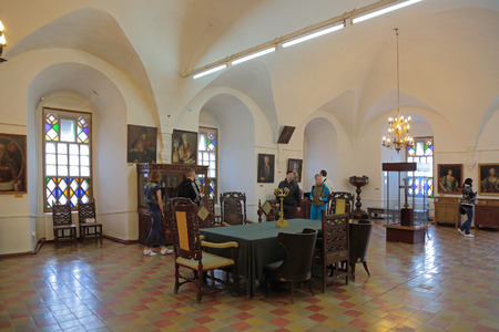 territory: ROSTOV, YAROSLAVL OBLAST, RUSSIA - MAY 02, 2014: White dining room chamber (the Museum of Church antiquities) on the territory of the Rostov Kremlin (Golden Ring). Interior Editorial
