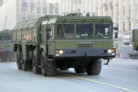 operative system: MOSCOW, RUSSIA - MAY 05, 2016: Rehearsal celebration of the 71th anniversary of the Victory Day (WWII). Military equipment on Tverskaya street prepares to travel to the Red Square. The 9K720 Iskander (NATO reporting name SS-26 Stone) is a mobile short-ran