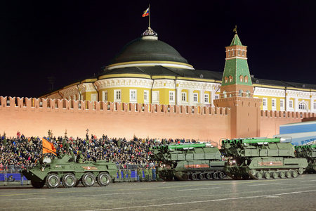 MOSCOW, RUSSIA - MAY 03, 2017: Night rehearsal celebration of the 72th anniversary of the Victory Day (WWII) on Red Square. The self-propelled, medium-range surface-to-air missile system Buk (SA-11 Gadfly)