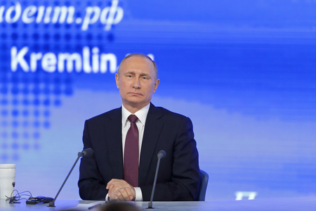 MOSCOW, RUSSIA - DEC 23, 2016: The President of the Russian Federation Vladimir Vladimirovich Putin with eyes closed at the annual press conference in Center of international trade Editorial