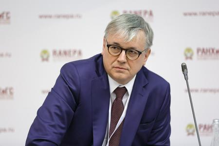MOSCOW, RUSSIA - JAN 12, 2017: Kuzminov Yaroslav Ivanovich - rector of National Research University - Higher School of Economics (HSE) at the Gaidar Forum 2017 Editorial