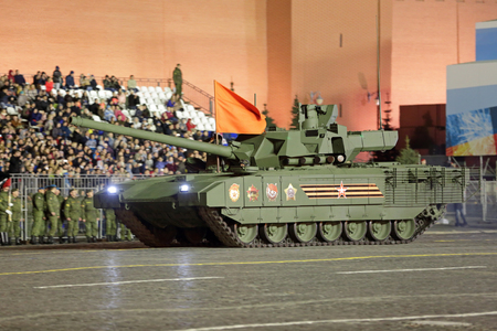 MOSCOW, RUSSIA - MAY 03, 2017: Night rehearsal celebration of the 72th anniversary of the Victory Day (WWII) on Red Square. The T-14 Armata is a new Russian main battle tank based on the Armata Universal Combat Platform