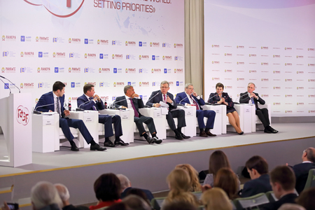 MOSCOW, RUSSIA - JAN 12, 2017: Gaidar Forum 2017. Panel discussion New regional policy with the participation of Alexei Kudrin and regional governors