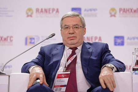MOSCOW, RUSSIA - JAN 12, 2017: Viktor Aleksandrovich Tolokonsky - Russian politician, governor of Krasnoyarsk Krai at the Gaidar Forum 2017 Sajtókép