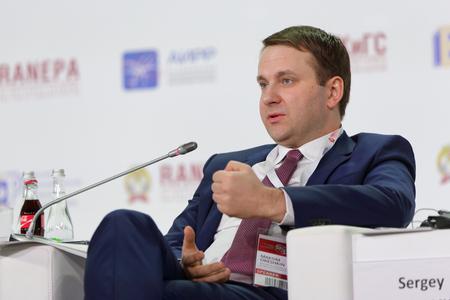 MOSCOW, RUSSIA - JAN 13, 2017: Maksim Stanislavovich Oreshkin - Minister of economic development of the Russian Federation at the Gaidar Forum 2017 Editorial