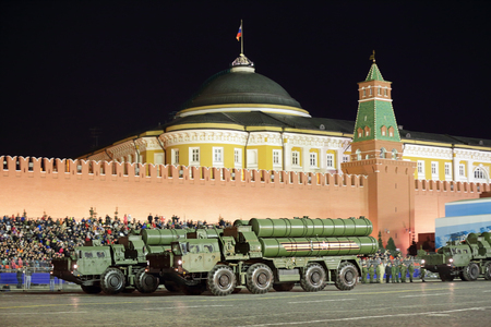 MOSCOW, RUSSIA - MAY 03, 2017: Night rehearsal celebration of the 72th anniversary of the Victory Day (WWII) on Red Square. The S-400 Triumf (NATO reporting name: SA-21 Growler) is an anti-aircraft weapon system large and medium-range developed by Russia' Editöryel