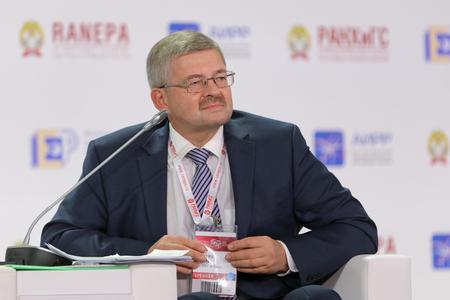 MOSCOW, RUSSIA - JAN 13, 2017: Dmitry Vladislavovich Tulin, a Russian economist, first Deputy Chairman, Bank of Russia at the Gaidar Forum 2017