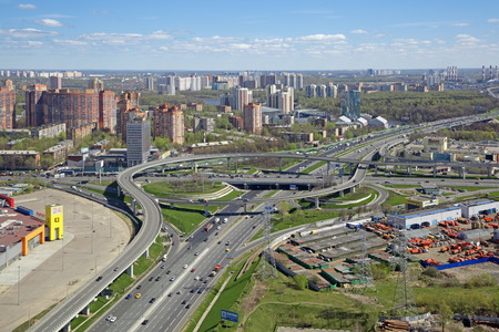 MOSCOW, RUSSIA - MAY 07, 2017: Moscow cityscape. Top view of the junction of Moscow ring road and Leningradskoye Highway