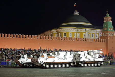 MOSCOW, RUSSIA - MAY 03, 2017: Night rehearsal celebration of the 72th anniversary of the Victory Day (WWII) on Red Square. Pantsir-SA (SA-22 Greyhound) is a medium range arctic self-propelled anti-aircraft missile system