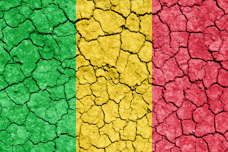 The image of the flag of Republic of Mali on the cracked dry ground