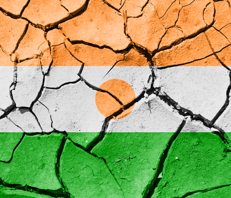 The image of the flag of Republic of Niger on the cracked dry ground
