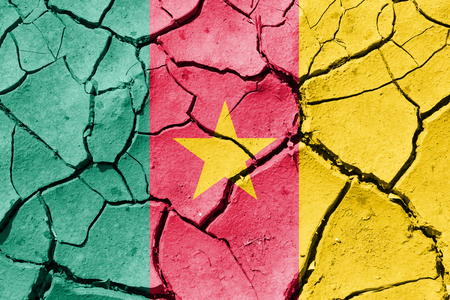 The image of the flag of Republic of Cameroon on the cracked dry ground Stock Photo