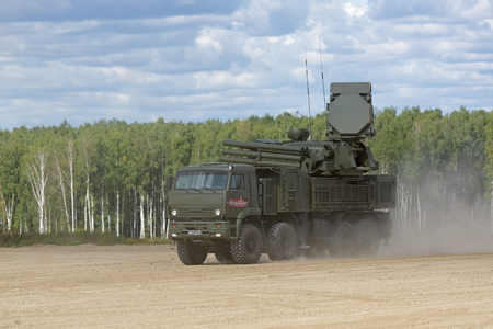 MILITARY GROUND ALABINO, MOSCOW OBLAST, RUSSIA - AUG 22, 2018: Pantsir-S1 (NATO reporting name SA-22 Greyhound) is a combined short to medium range surface-to-air missile and anti-aircraft artillery at the International military-technical forum ARMY-2018 Editöryel