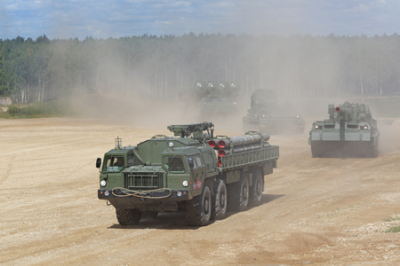 MILITARY GROUND ALABINO, MOSCOW OBLAST, RUSSIA- AUG 22, 2018: Transport-loading vehicle BM-30 Smerch is a Russian heavy multiple rocket launcher at the International military-technical forum ARMY-2018