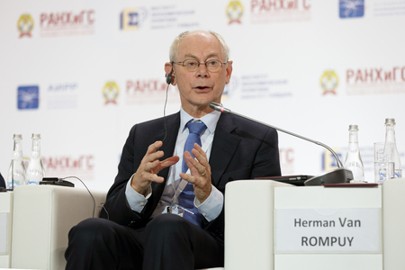 MOSCOW, RUSSIA - JAN 16, 2018: Herman Van Rompuy - Belgian and European politician, President of the European policy centre, Prime Minister of Belgium (2008-2009) at the Gaidar Forum 2018