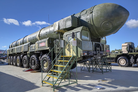 KUBINKA, MOSCOW OBLAST, RUSSIA - AUG 22, 2018: The RT-2PM Topol (SS-25 Sickle) is a mobile intercontinental ballistic missile strategic purpose at the International military-technical forum ARMY-2018 Editorial