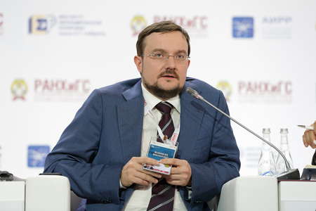 "MOSCOW, RUSSIA - JAN 16, 2018: Alexey Evgenievich Repik, President, All-Russian Public Organization ""Business Russia""; Chairman, Board of Directors, R-Farm Group at the Gaidar Forum 2018"