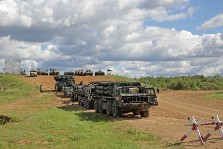 MILITARY GROUND ALABINO, MOSCOW OBLAST, RUSSIA - AUG 22, 2018: International military-technical forum ARMY-2018. Military equipment participating in the show Editorial