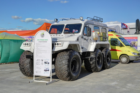 KUBINKA, MOSCOW OBLAST, RUSSIA - AUG 22, 2018: Trekol-39294 is Russian amphibious all-terrain vehicle at the International military-technical forum ARMY-2018 in military park Patriot