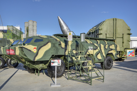 KUBINKA, MOSCOW OBLAST, RUSSIA - AUG 22, 2018: Soviet tactical operational missile complex Tochka (NATO reporting name: SS-21 Scarab) at the International military-technical forum ARMY-2018