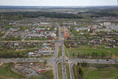 KUBINKA, MOSCOW REGION, RUSSIA - MAY 07, 2017: The intersection of Naro-Fominsk highway Mozhayskoe and Minskoe highway