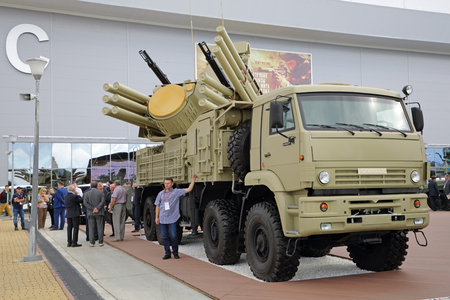 KUBINKA, MOSCOW OBLAST, RUSSIA - AUG 22, 2018: Pantsir-S1 (NATO reporting name SA-22 Greyhound) is a combined short to medium range surface-to-air missile and anti-aircraft artillery at the International military-technical forum ARMY-2018