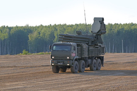 MILITARY GROUND ALABINO, MOSCOW OBLAST, RUSSIA - AUG 21, 2018: Pantsir-S1 (NATO reporting name SA-22 Greyhound) is a combined short to medium range surface-to-air missile and anti-aircraft artillery at the International military-technical forum ARMY-2018