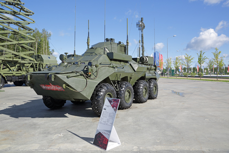 KUBINKA, MOSCOW OBLAST, RUSSIA - AUG 22, 2018: The unified command-staff vehicle R-149MA1 at the International military-technical forum Army-2018 Editorial